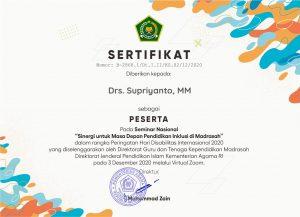 SERTIFIKAT Drs. Supriyanto MM 1 1 300x217 - Seminar Menyambut Hari Disabilitas Internasional Tahun 2020